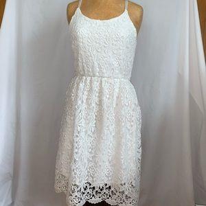 JANICE  white lace dress w/spaghetti straps